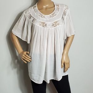 Zara Tops - ZARA TRAFALUC CREAM LACE COLLAR TOP MEDIUM